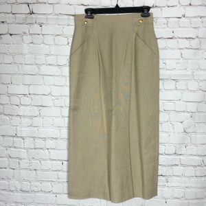 Vintage Talbots Khaki Tan A-line Pencil Skirt